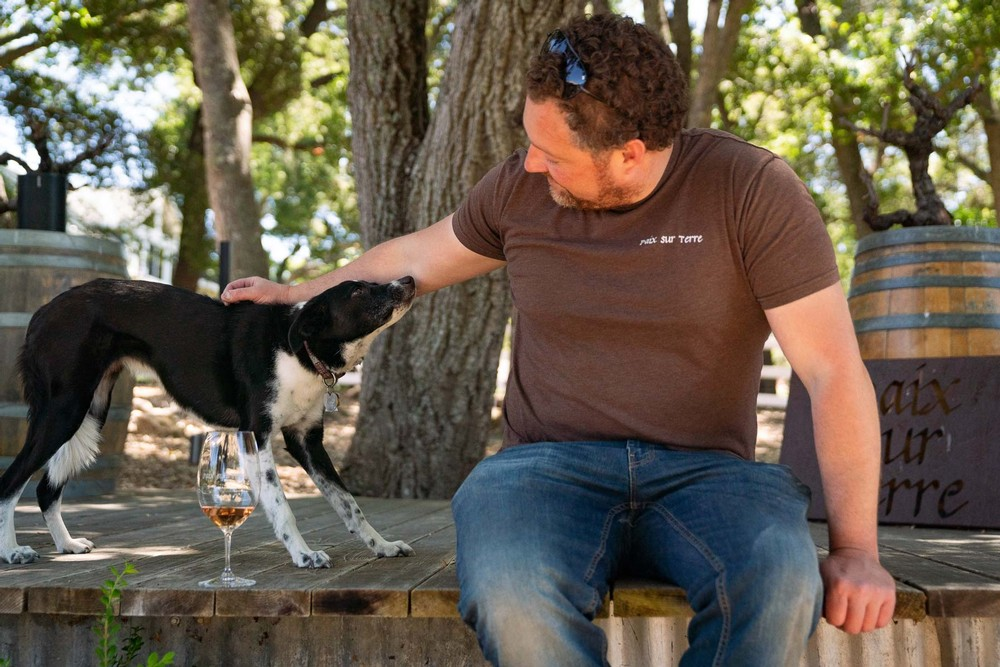 Ryan and his dog at the tasting room in Paso Robles